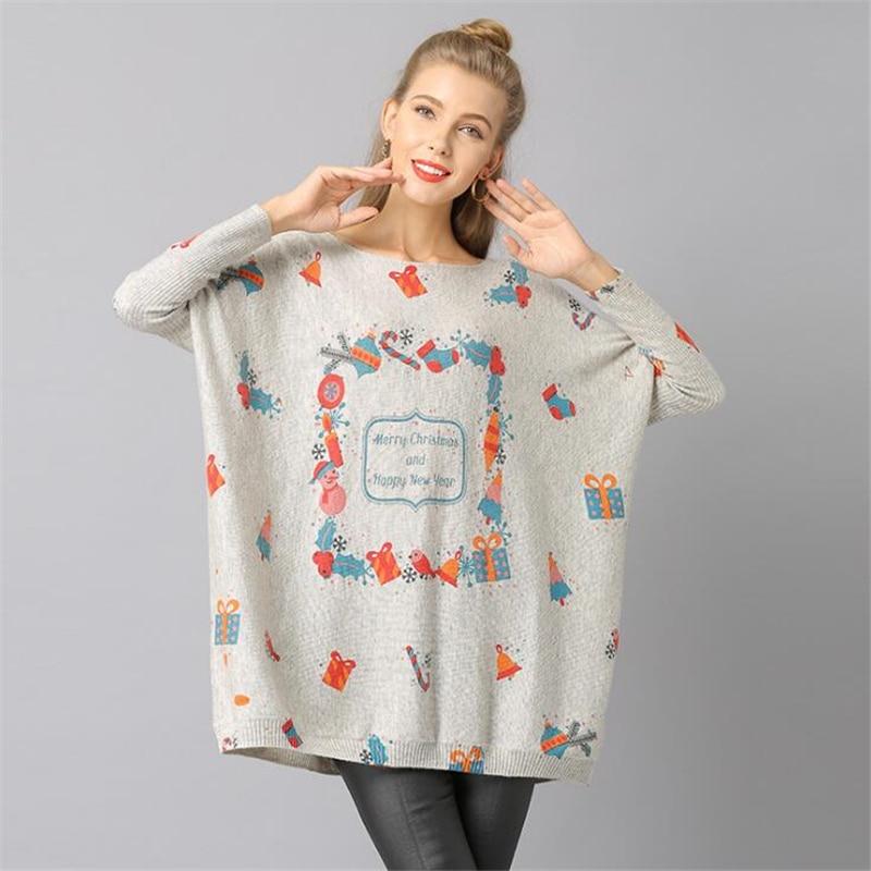 Women Clothes Original Design Women Loose Christmas Print Wool Sweater Loose bat sleeve Autumn Winter Basic Knitted Sweaters