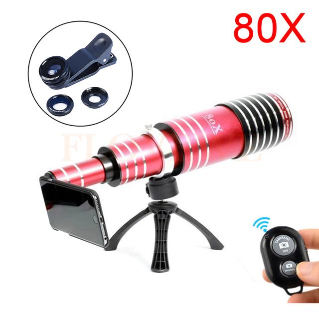 Câmera Lentes Kit 80X de Metal Telefoto Telescope Lens + Tripé + olho de Peixe Macro Ampla lentes de ângulo para iphone 6 6 s 7 plus 5 5S se 4S