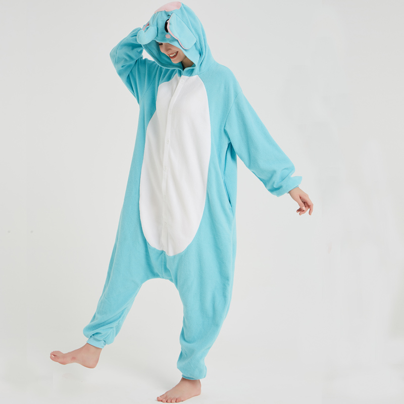 Elephant Adult Pajamas Polar Fleece Onesies Kigurumi For Halloween Pink One-piece Jumpsuit Siamese Cosplay Custome (7)