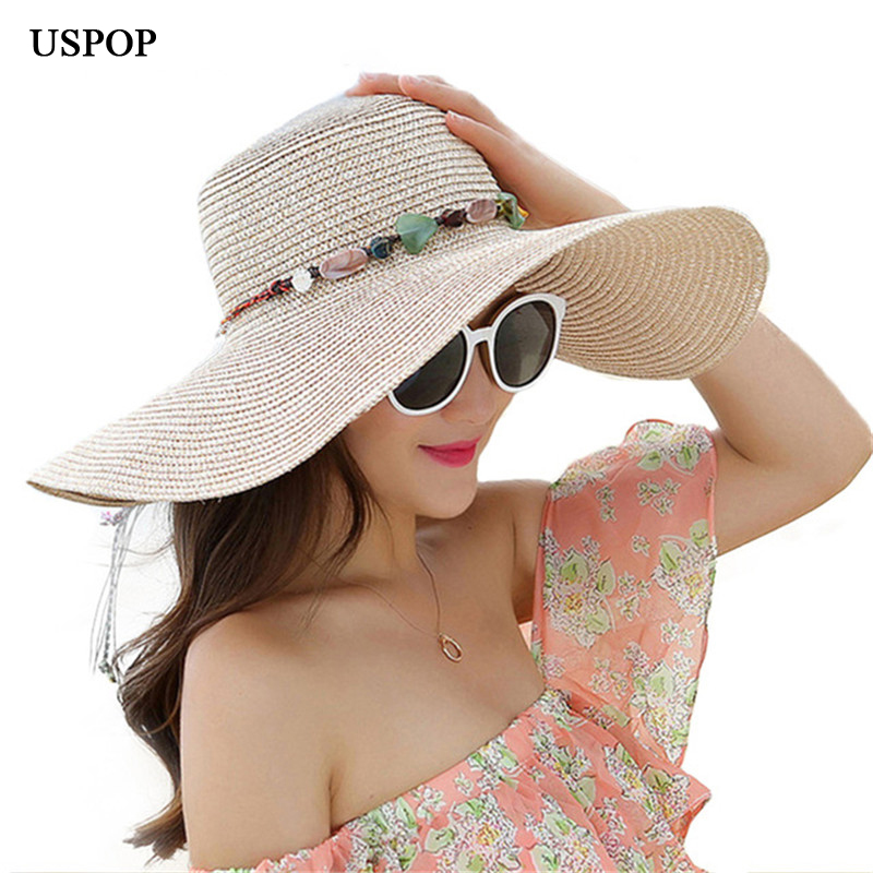 2018 hot big brim sun hats for woman foldable colorful stone hand made straw hat female casual shade hat summer hat beach cap