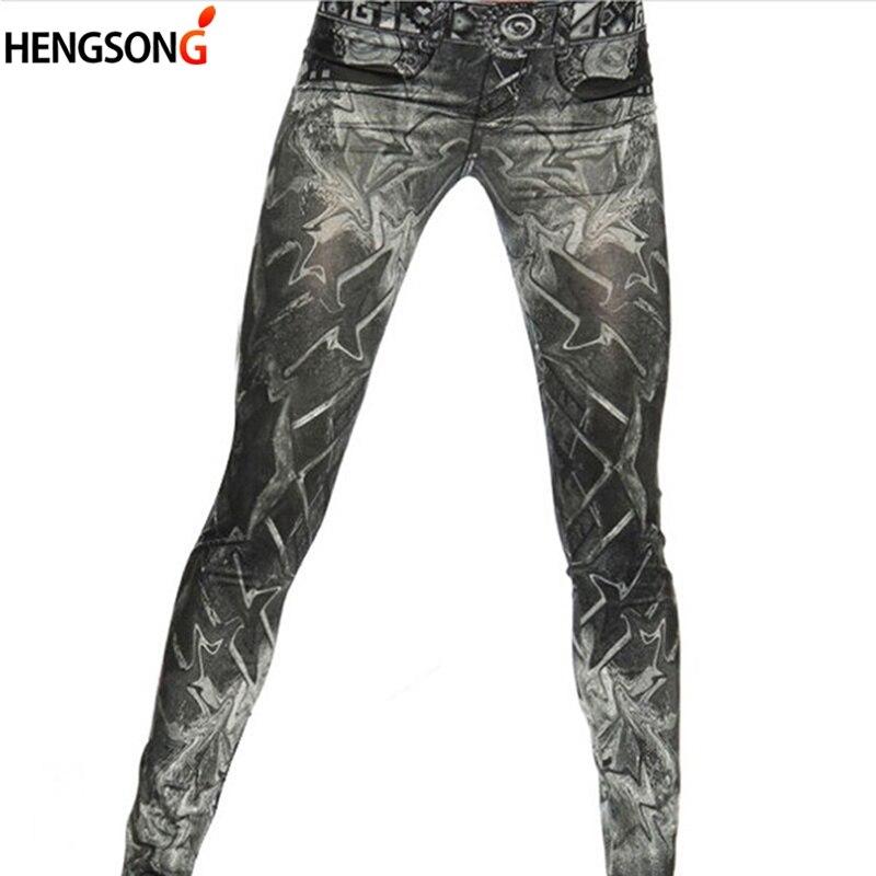 Neue Frauen Denim Leggings Schlank Falsche Nachahmung Jeans Fitness Leggins Neun Hosen Leggings Schwarz One Size