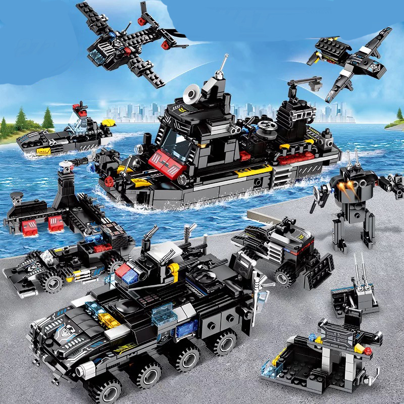 8pcs/lot Legoings Swat City Police Truck Stacking Blocks Sets Ship Helicopter Vehicle Creator Bricks Playmobiled Kids Toys And Digestion Helping Toys & Hobbies Stacking Blocks