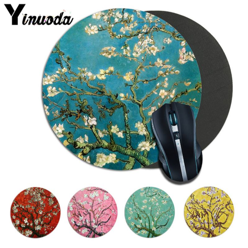 Yinuoda Hot Sales Almond Blossoms Van Gogh Paiting Rubber PC Computer Gaming Mousepad Round Mousepad Rubber Rectangle Mousemats