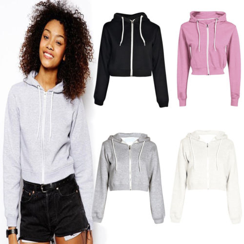 Womens Long Sleeve Hoodie Sweatshirt Zipper Tops Casual Blouse Jumper Coat