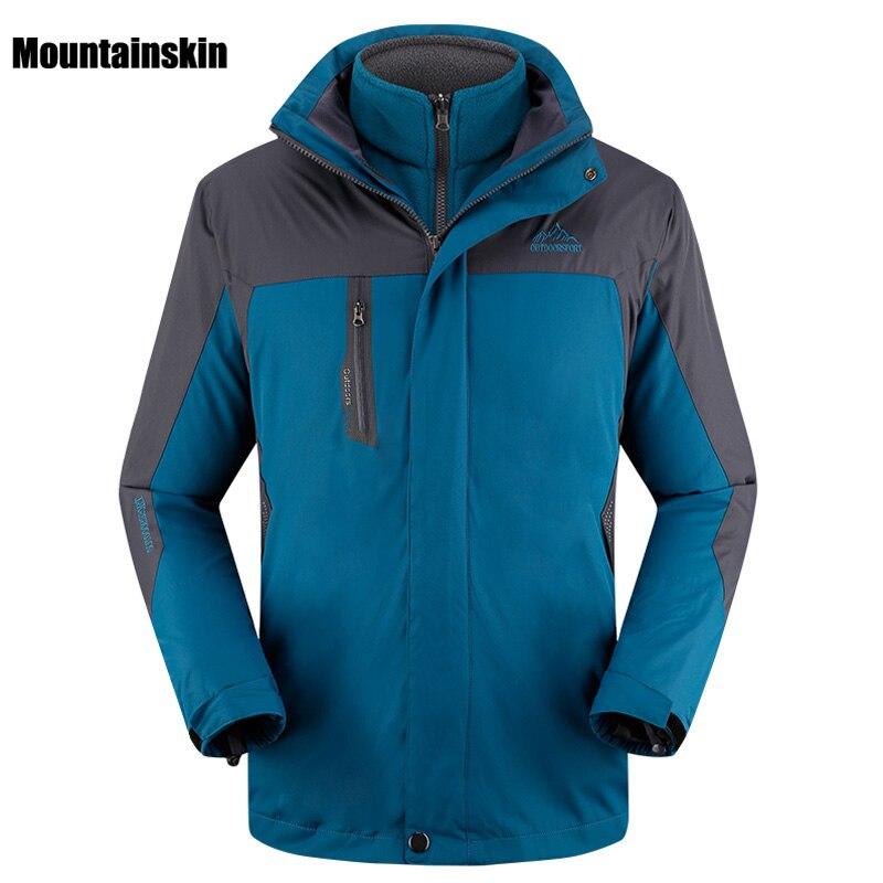 2017 Men Women's Winter 2 Pieces Inner Fleece Jacket Outdoor Sport Brand Softshell Coats Hiking Skiing Male Female Jackets VA059