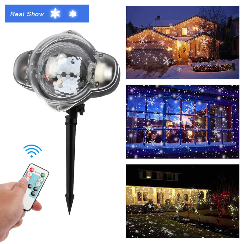 Christmas Projector Light LED Snow Falling Outdoor Indoor Landscape Decor Lamp