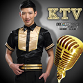 Short Sleeved Nightclub Male Shirt KTV Shirt  Hotel Waiter Waitress Uniforms