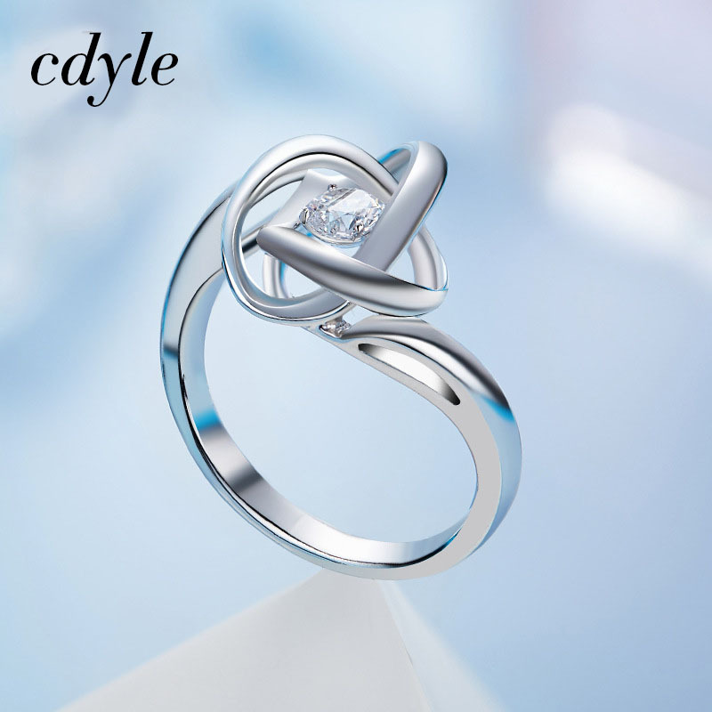 Cdyle Luxury Ring Dancing Stone Fashion S925 Sterling Silver Jewelry Women Fashion Jewelry Elegant Rings White