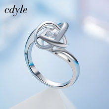 Cdyle Luxury Ring Dancing Stone Fashion S925 Sterling Silver Jewelry Women Fashion Jewelry Elegant Rings White New Bijous(China)