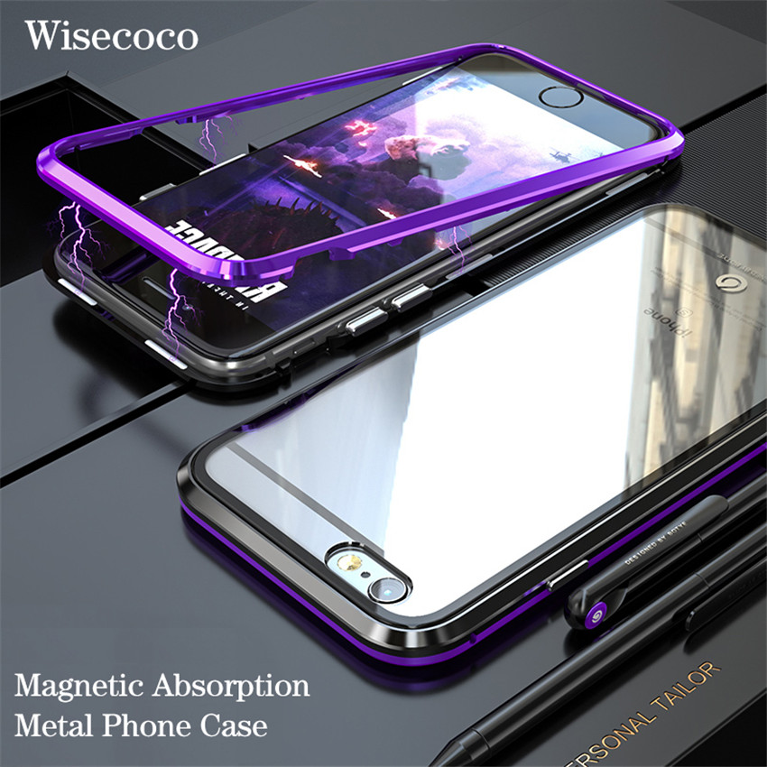 Luxury Ultra Magnetic Adsorption Case for iphone 6 6s plus Magnet Metal Bumper Tempered Glass back hard Cover For iPhone 6 6s s