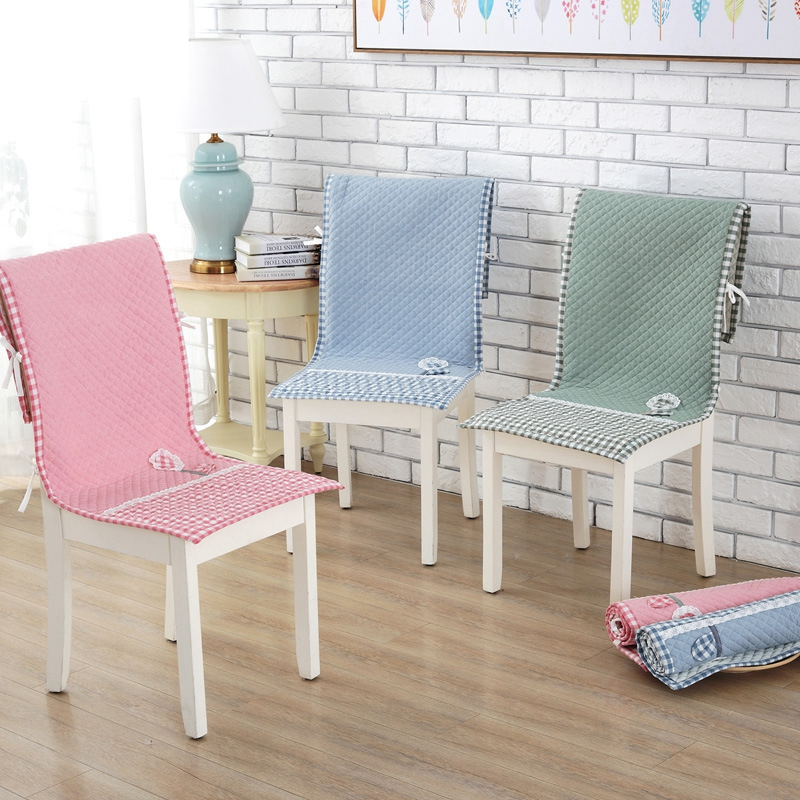 Fashion Dining Room Chair Cover Lace-up Fixed Chair Case Winter Anti-slip 100%Cotton Chair Cover 45*120cm Home Office Decor 1pc