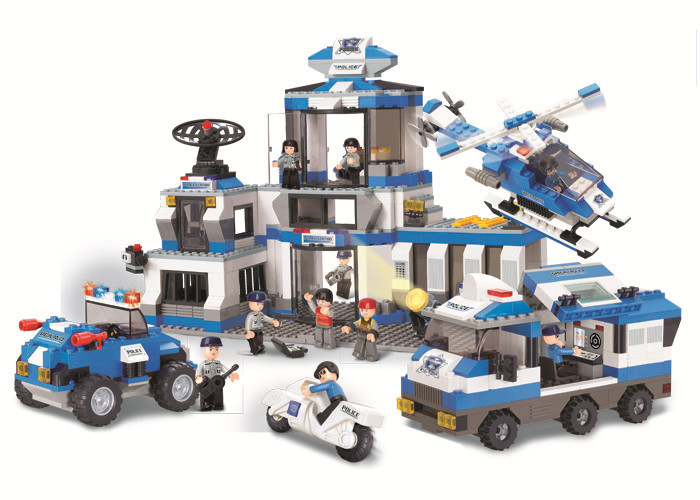 0193 859Pcs Police SWAT Headquarters Model Building Block Construction Toys Gift For Children