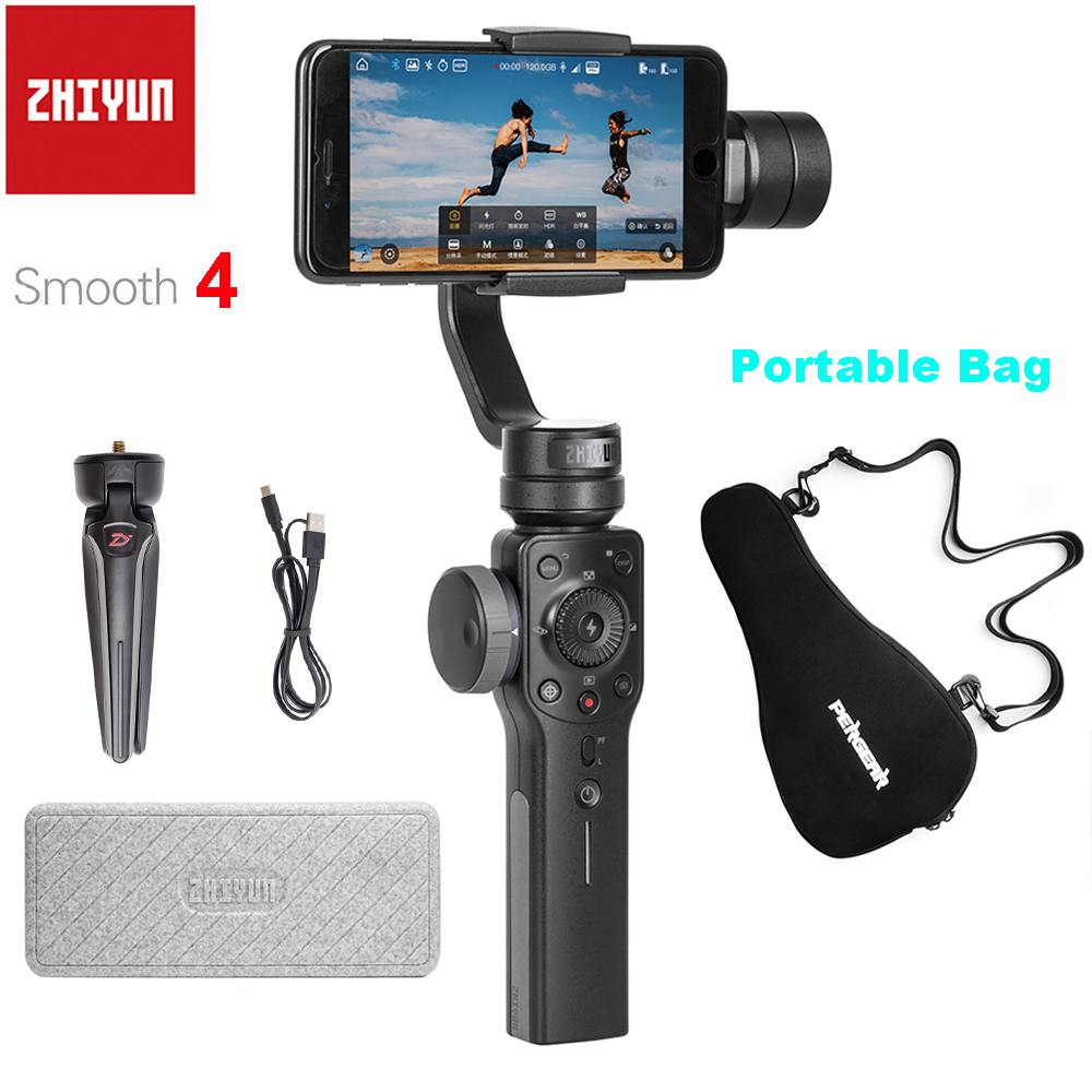 Zhiyun Liscia 4 3 Assi Handheld Smartphone Cardano Stabilizzatore per il iPhone X Samsung con il Sacchetto Portatile Caso PK DJI OSMO Mobile 2