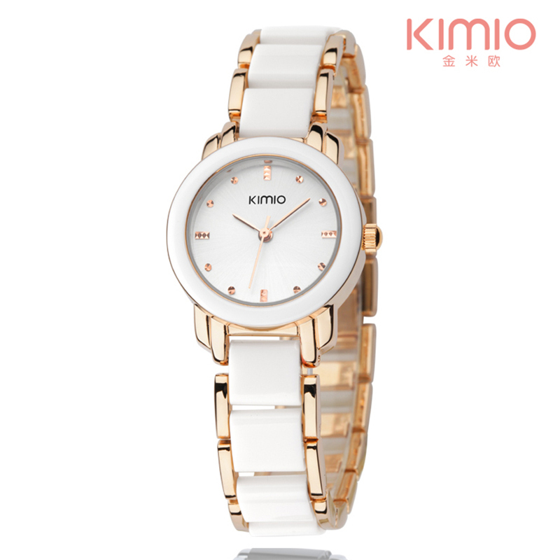 2017 חדשה Eyki Kimio גבירותיי חיקוי קרמיקה שעונים יוקרה רוז צמיד זהב שעונים עם רצועת סגסוגת בסדר נשים שמלה צפה