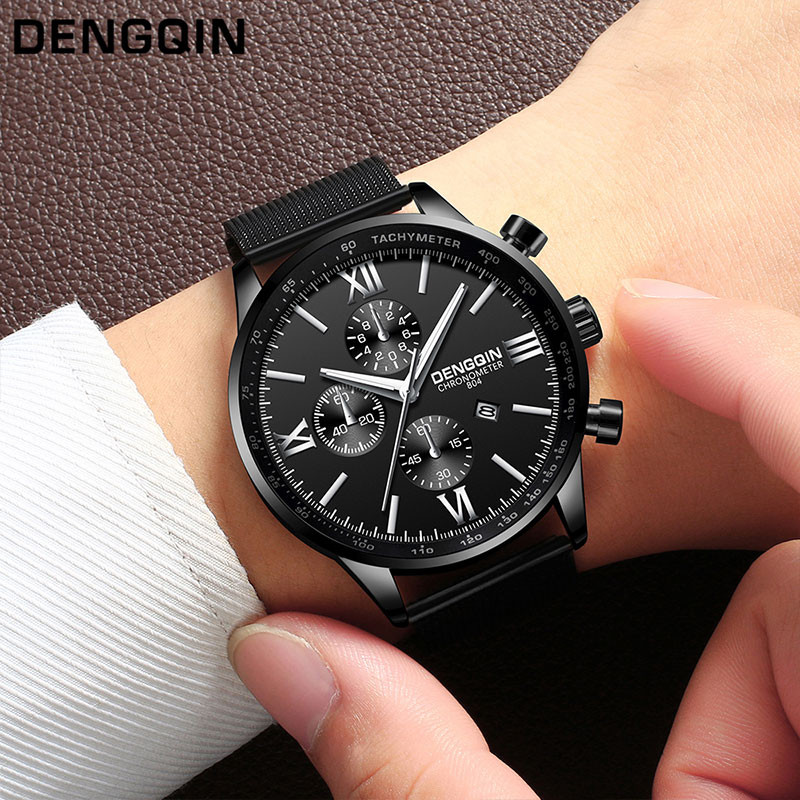 DENGQIN Mode Luxus Marke Männer Uhr Business Edelstahl Hohe Qualität Quarz Analog Datum Herren Uhr Handgelenk Uhren relogio