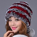 2016 Women Rex Rabbit Fur Hat With Fur Ball Real Fur Winter Fashion Hats Hand Sewing Strips Color Elastic Lady Beanies Cap
