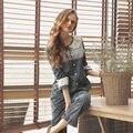 A Cuadros de Algodón puro Pijama Establece Las Mujeres 2017 Resorte de la ropa de Noche Pijama de Manga Larga de Encaje Sexy Princesa Pijamas de Alta Calidad Femenina