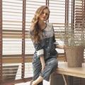 Puro Algodão Xadrez Pijama Define As Mulheres 2017 Primavera Sleepwear Longo-Luva Sexy Lace Princesa Pijamas Pijama De Alta Qualidade do Sexo Feminino