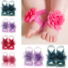 2019 New 1 Pairs Baby Girls Rhinestone Wrist Flower Foot Band Barefoot Sandals Shoes Photo Prop Accessories(China)