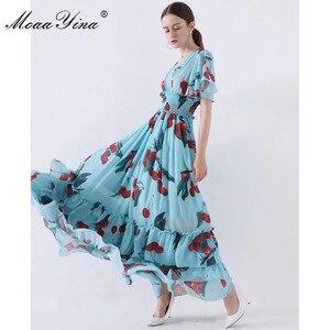 Image 2 - MoaaYina 패션 디자이너 런웨이 드레스 봄 여름 여성 드레스 v 목 신축성 허리 과일 꽃 프린트 프릴 드레스