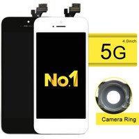 NO. 1 Alibaba China 10 unids/lote Excelente Calidad LCD Para El Teléfono 5 Con Pantalla Táctil Digitalizador Asamblea + cámara anillo