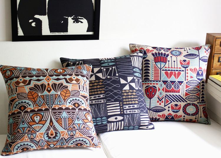 Southeast Asia Color Pattern Retro Cotton Pillowcase Cushion  Lumbar Pillow Cushions Home Decor Sofa Cushion 3PCS/LOT