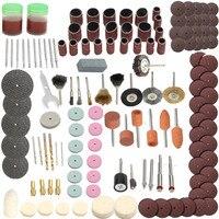 Conjunto de acessórios de ferramenta rotativa  ferramenta para moedor elétrico dremel  lixa para polimento  disco de broca de ponta cortadora com 142 peças