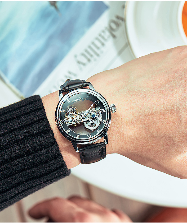 HTB1ZpMUc21H3KVjSZFHq6zKppXae GUANQIN 2019 men watches top brand luxury Automatic Luminous clock men Tourbillon waterproof gold Mechanical relogio masculino