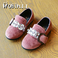 2017 New spring girl fashionable crystal diamond suede shoes girl flowers Princess baby shoes comfortable casual leather shoes
