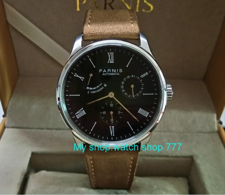 PARNIS 40mm black dial Automatic Self-Wind movement power reserve men's watch Auto Date Mechanical watches wholesale 327a sapphire 2017 new fashion parnis 45mm black dial st2557 automatic self wind movement men s watch gmt mechanical watches 291