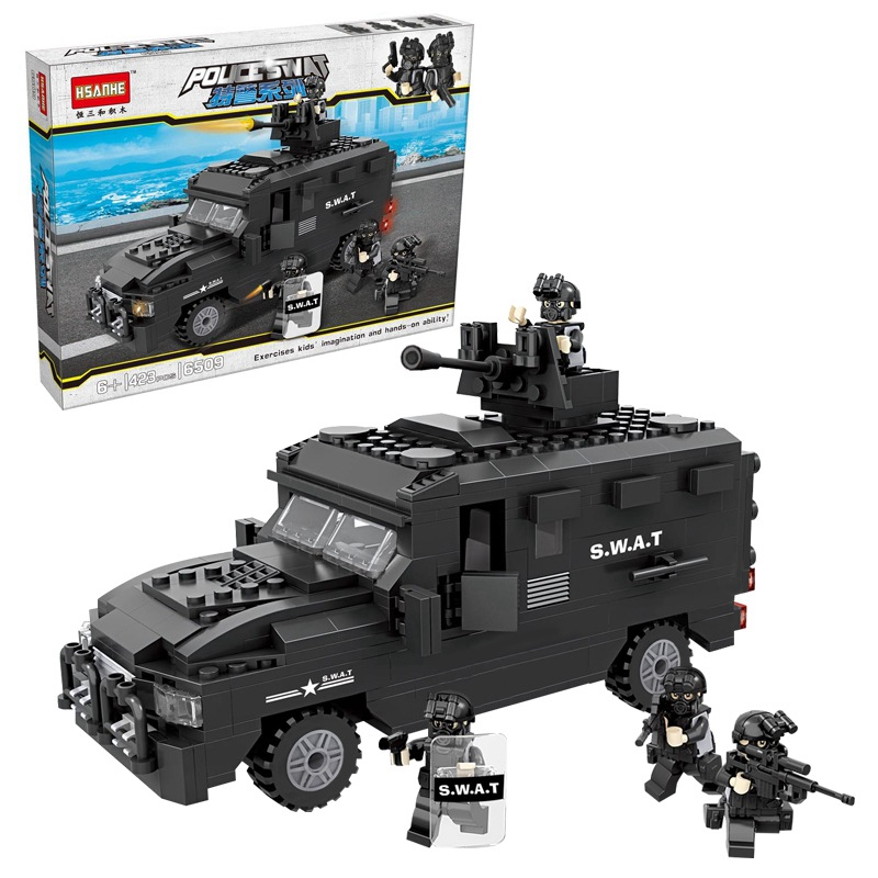 HSANHE 6509 City Police SWAT Explosion-proof Car Figure Blocks Compatible Legoe Construction Building Bricks Toys For Children b1600 sluban city police swat patrol car model building blocks classic enlighten diy figure toys for children compatible legoe