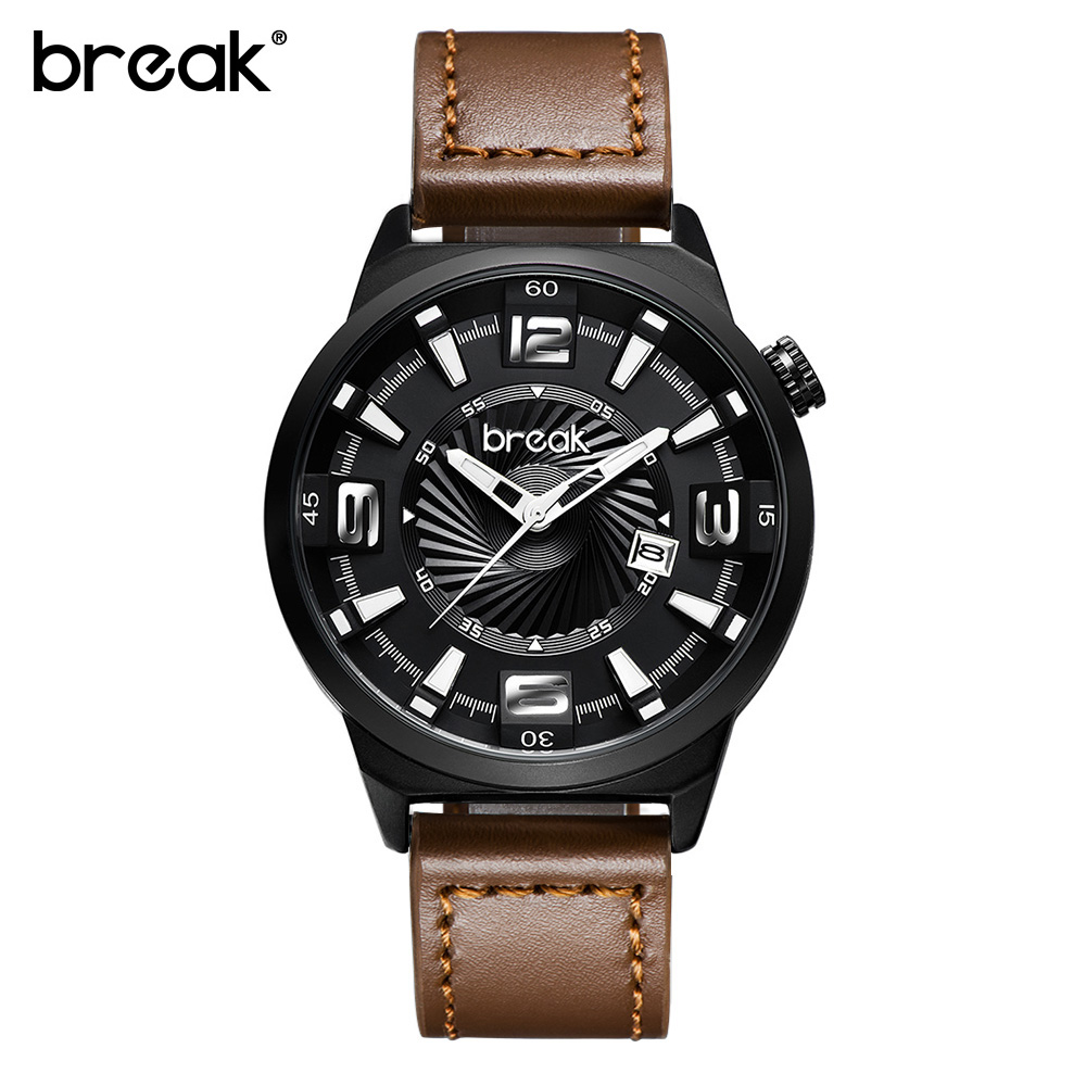 BREAK Men Top Luxury Brand Brown Leather Strap Fashion Casual Analog Quartz Sport Business Wristwatches Gift Watches for Dress eyki brand 2016 new watches men luxury brand fashion casual business watches sport gold analog quartz leather wristwatches1011