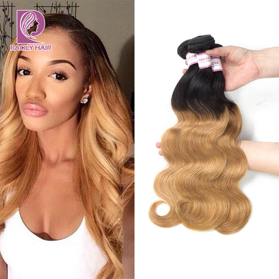 Racily Hair Blonde Ombre Peruvian Body Wave Hair Bundles 1B/27 Ombre Human Hair Extensions 1/3/4 Bundles Remy Hair Weave Bundles