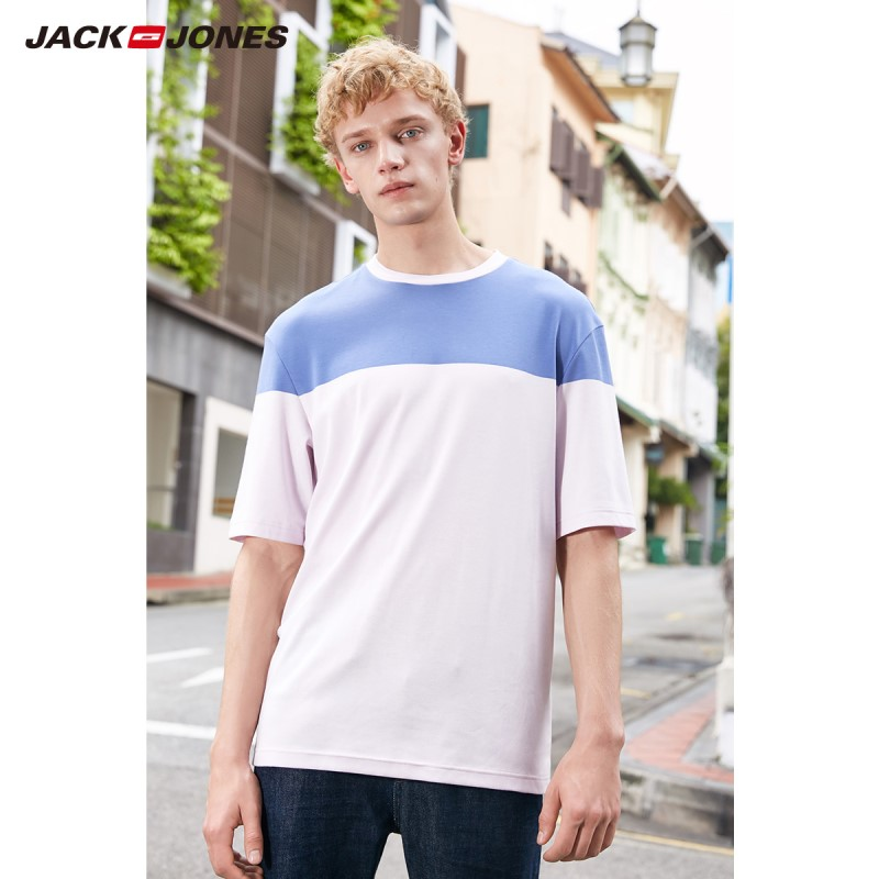 JackJones Men's 100% Cotton Printed Short-sleeved T-shirt Basic E|219101565