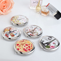 1pc Mini Beauty pocket mirror portable double sides stainless steel frameRomantic Eiffel Tower cosmetic makeup Normal Magnifying