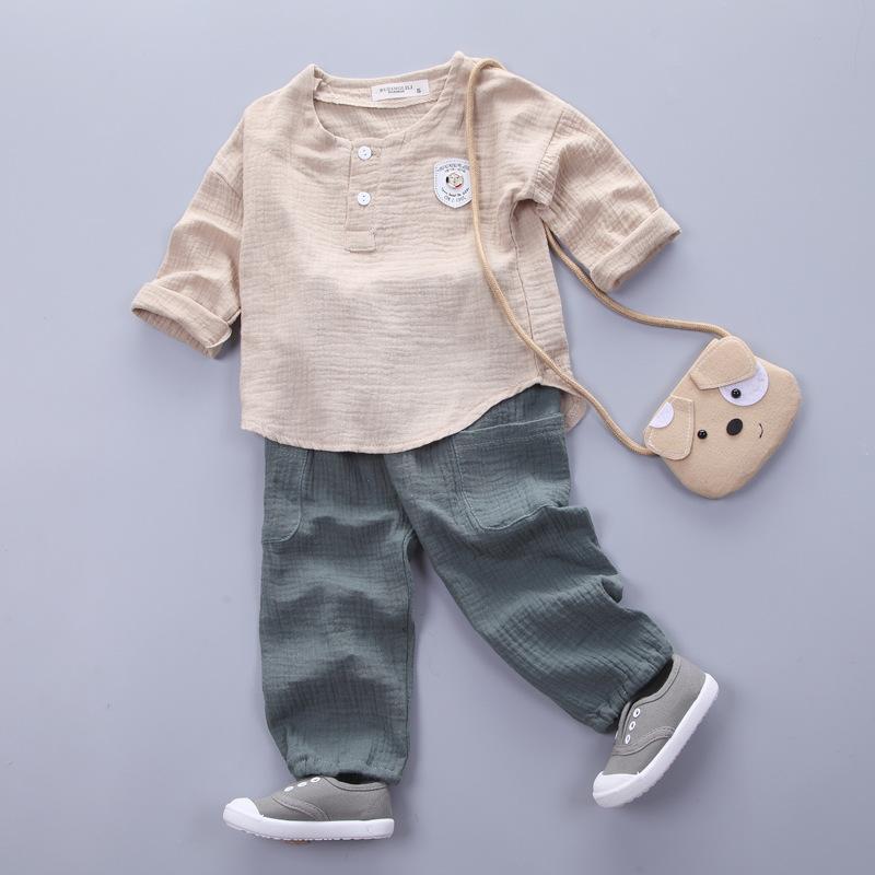 HTB1ZpN0SXXXXXcGaXXXq6xXFXXXR - Infantis Childrens spring autumn summer cotton Boys tops tees long sleeve t shirt +bind pants 2pc/set ,kids Clothes 0-5Year