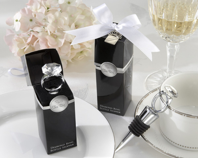 Home Party Favour Crystal Diamond Ring Red Wine Bottle Stopper For