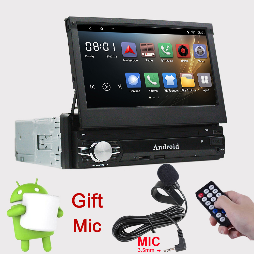 Rhythm Single 1 Din Android 6.0 Quad Core Universal Car GPS Multimedia 7inch Capacitive Cassette Player Bluetooth Retractable