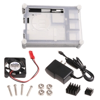Clear Acrylic Case W Cooling Fan Heat SinkCharger Kit For Raspberry Pi US Plug
