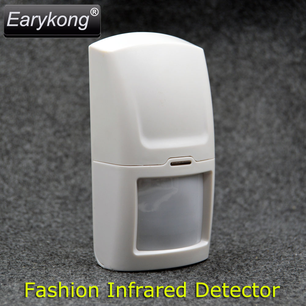 433MHz Fashion Wireless Infrared Detector, Anti-white Light interference, For Home Burglar Alarm System, Use AAA 1.5V battery wireless vibration break breakage glass sensor detector 433mhz for alarm system