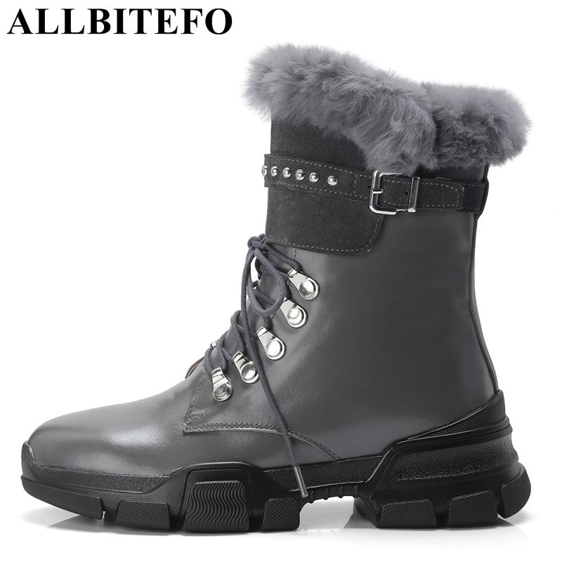 ALLBITEFO fashion brand genuine leather women motorcycle boots real Rabbits hair winter warm snow boots girls work ankle bootsALLBITEFO fashion brand genuine leather women motorcycle boots real Rabbits hair winter warm snow boots girls work ankle boots