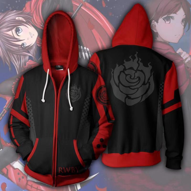 Anime RWBY Season One Hoodie 3D Sweatshirt Cosplay Costume Zip Up Hooded Jacket Coat Animein