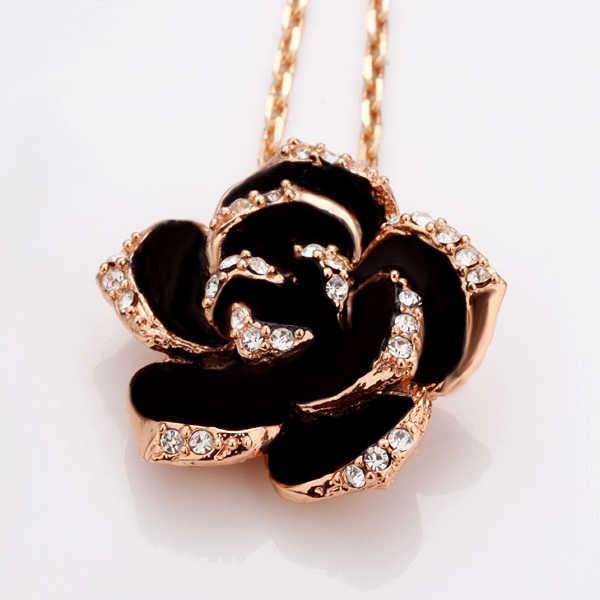 الأزياء روز زهرة مجموعة حُلي مطلية بالمينا روز الذهب اللون الأسود اللوحة الزفاف طقم مجوهرات s للنساء الزفاف 82606