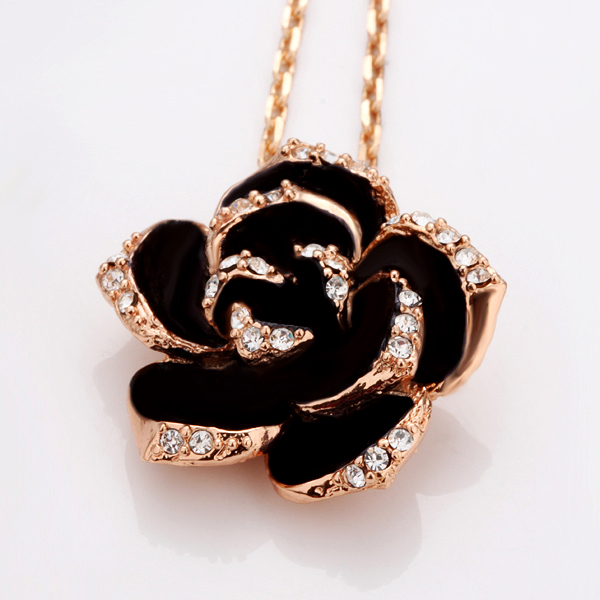 Fashion Rose Flower Enamel Jewelry Set Rose Gold Color Black Painting Bridal Jewelry Sets for Women