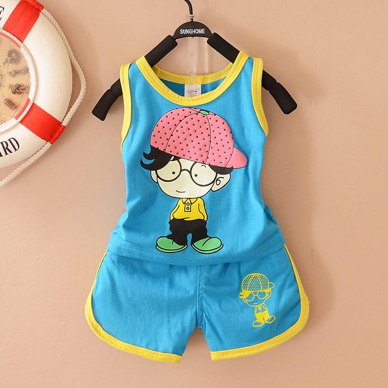 Baby boy clothes 2017 Brand summer kids clothes sets vest+pants suit clothing set boy Printed Clothes children sport suits