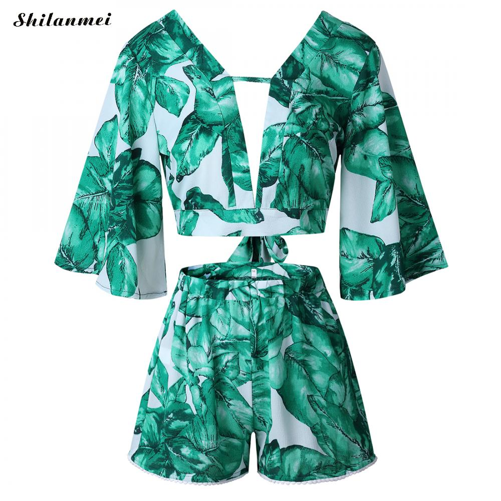 12606c3df6 Summer Boho Floral Bow Knot Crop Top Women 2 pieces Set Palm Leaves Flare  Sleeve Deep V Top + Elastic High Waist Short Beachwear
