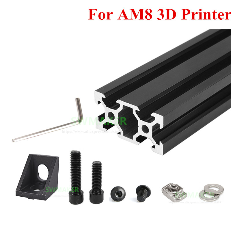 1 set AM8 3D Printer Aluminum Metal Extrusion Profile Frame with Nuts Screw Bracket Corner for Anet A8 3D printer parts цена
