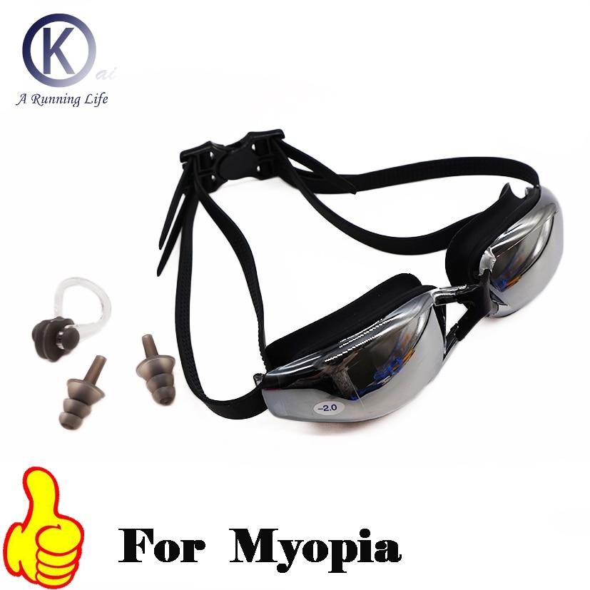 Kualitas atas kacamata renang miopia, Hd kacamata renang berpandangan pendek, Kacamata dioptik, Lensa plating, Rabun jauh menggunakan kolam renang