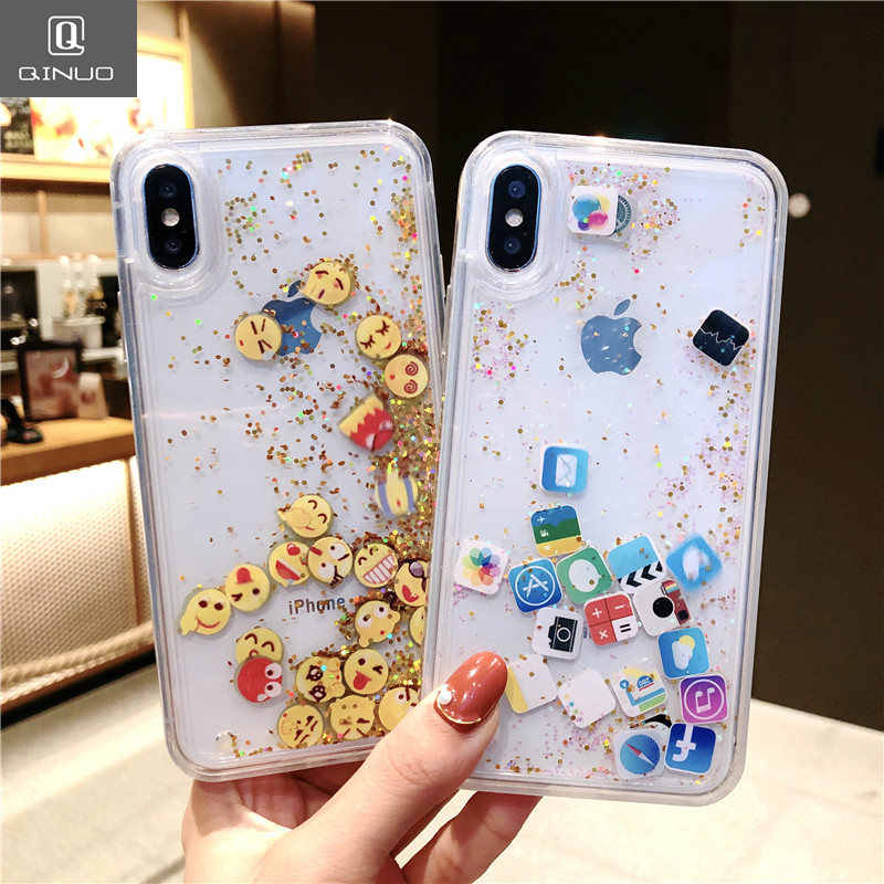 QINUO Newest expression Quicksand Case For iPhone X XS Max XR Cute Fashion  Case For iPhone 854f0dd92433