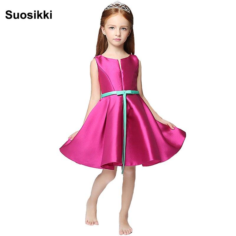 2018 Suosikki   flower     girl     dresses   For Weddings hot Pink v-neck Sleeveless Knee Length Communion Pagean